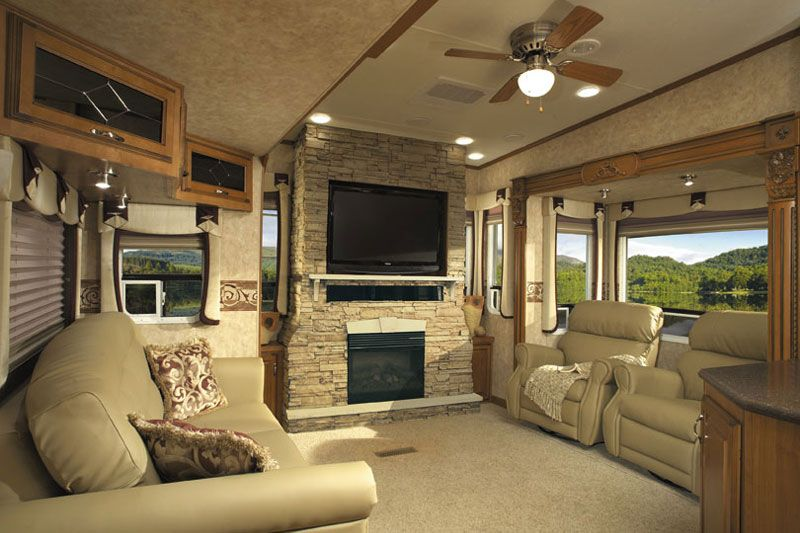 Rv With Fireplace Rv Living Trailer Interior Rv Living Full Time