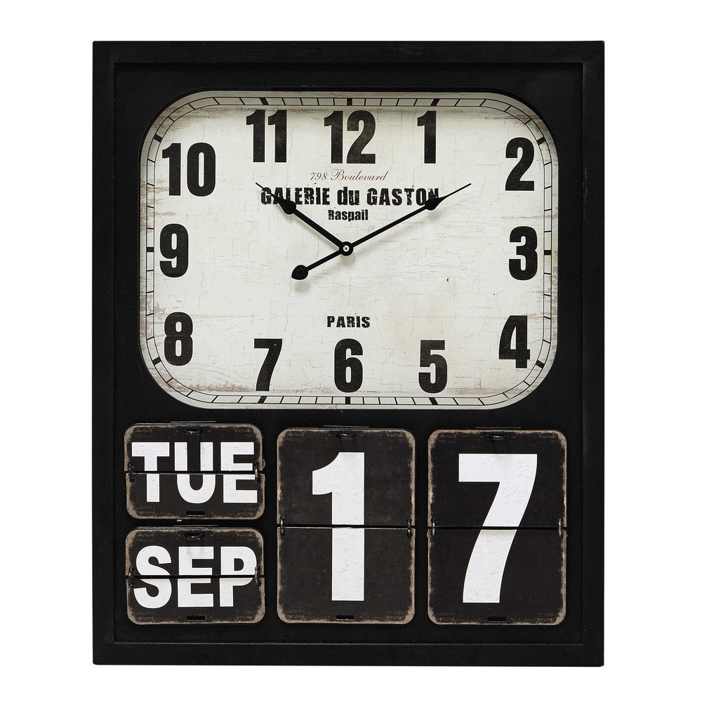 Howard Metal Calendar Clock In Black 58 X 70cm Innendekoration Wanduhr Küche 70er