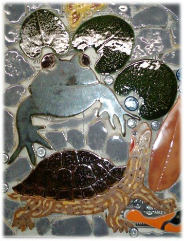 Frog Tiles Painted Turtle Shaped Ceramic