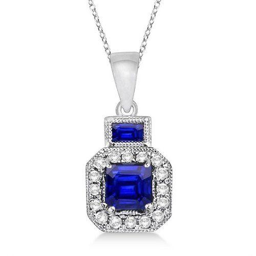 Princess Sapphire and Diamond Pendant Necklace 14k White Gold (0.65ctw) Allurez http://www.amazon.com/dp/B007HCVH6A/ref=cm_sw_r_pi_dp_PaLUub1128C55