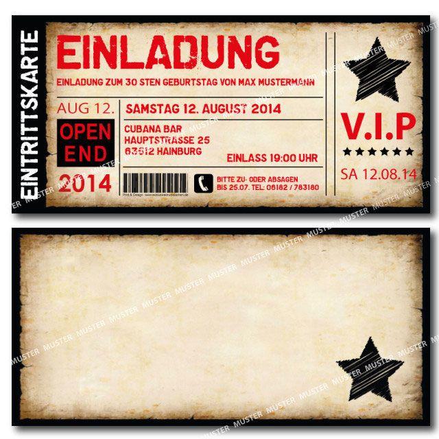 Einladungskarten Geburtstag als Ticket Eintrittskarte Einladung Karte Vintage mit Abriss- Perforation