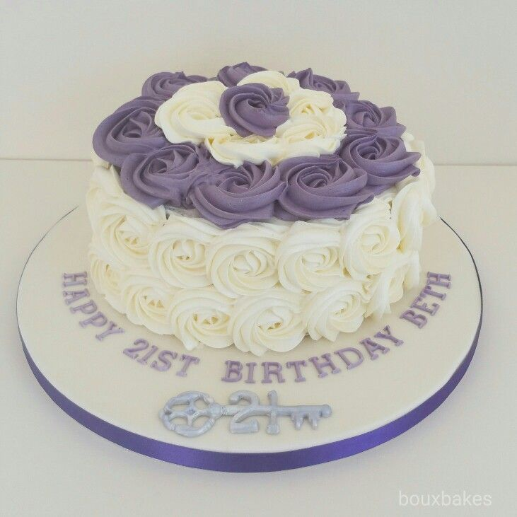 Purple and cream 21st birthday cake Flavour red velvet with cream