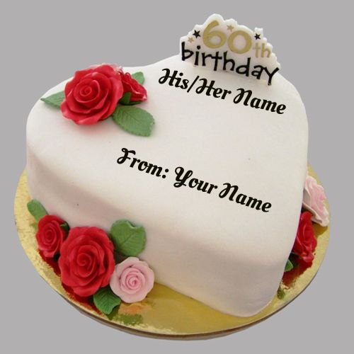 Fabulous Happy 60Th Birthday Cake With Your Name With Images 60Th Birthday Cards Printable Riciscafe Filternl