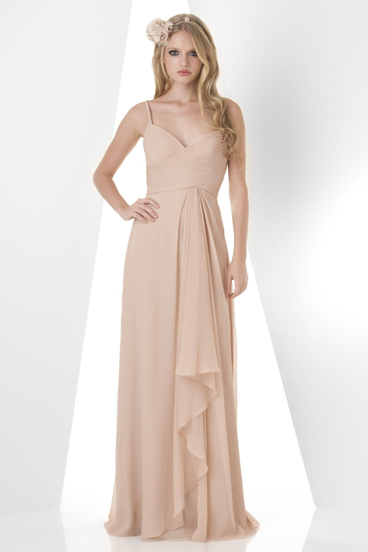 Bari Jay spring 2014 bridesmaid dress collection style V neck, shirred bust  criss cross back with side drape ruffle