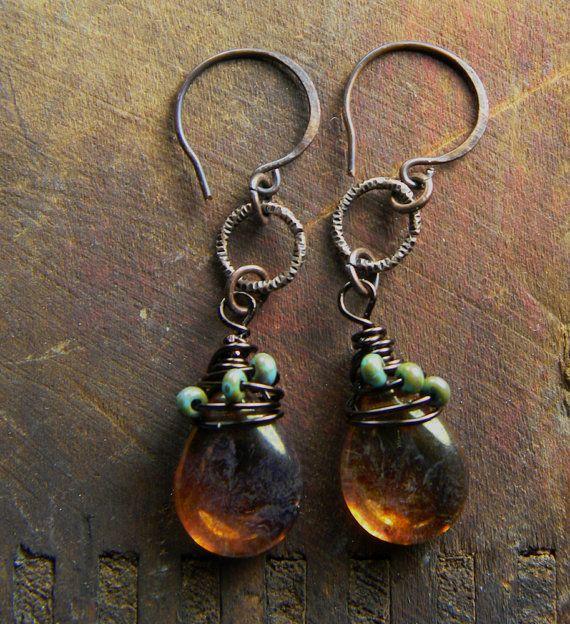 Antique Copper Picasso Glass Drop Earrings Rustic OOAK