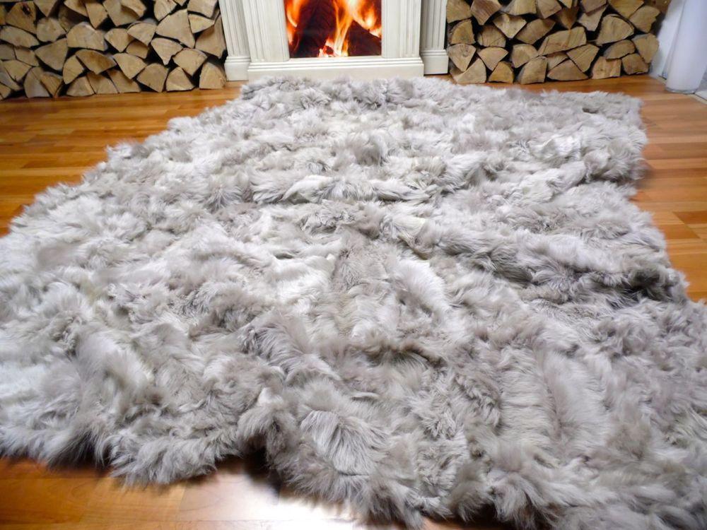 Echte Lammfelldecke X4 Schaffellteppich Kamin Schaffell Lammfell Teppich Pelz In Mbel Wohnen Teppiche