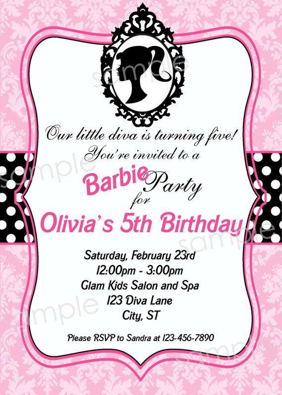 barbie inspired birthday party invitation diy by modpoddesigns, Birthday invitations