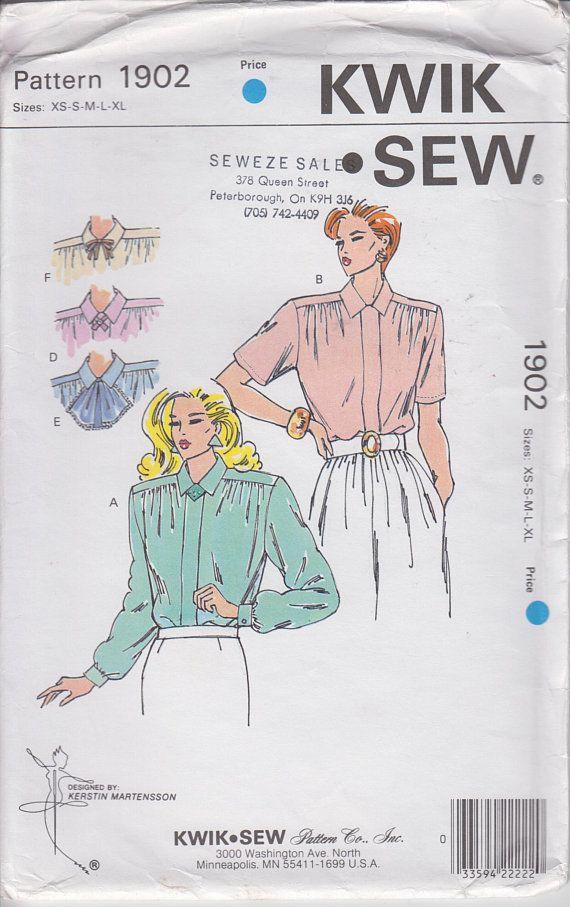 Womens Secretary Blouse UNCUT Sewing Pattern w Detachable Collar ...