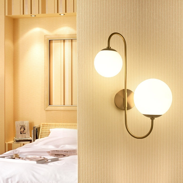 Modern Chic Milky White Globe Glass Shade Two Light Indoor Wall Lamp In Aged Brass In 2020 Wall Sconces Bedroom Wall Lights Living Room Indoor Wall Sconces