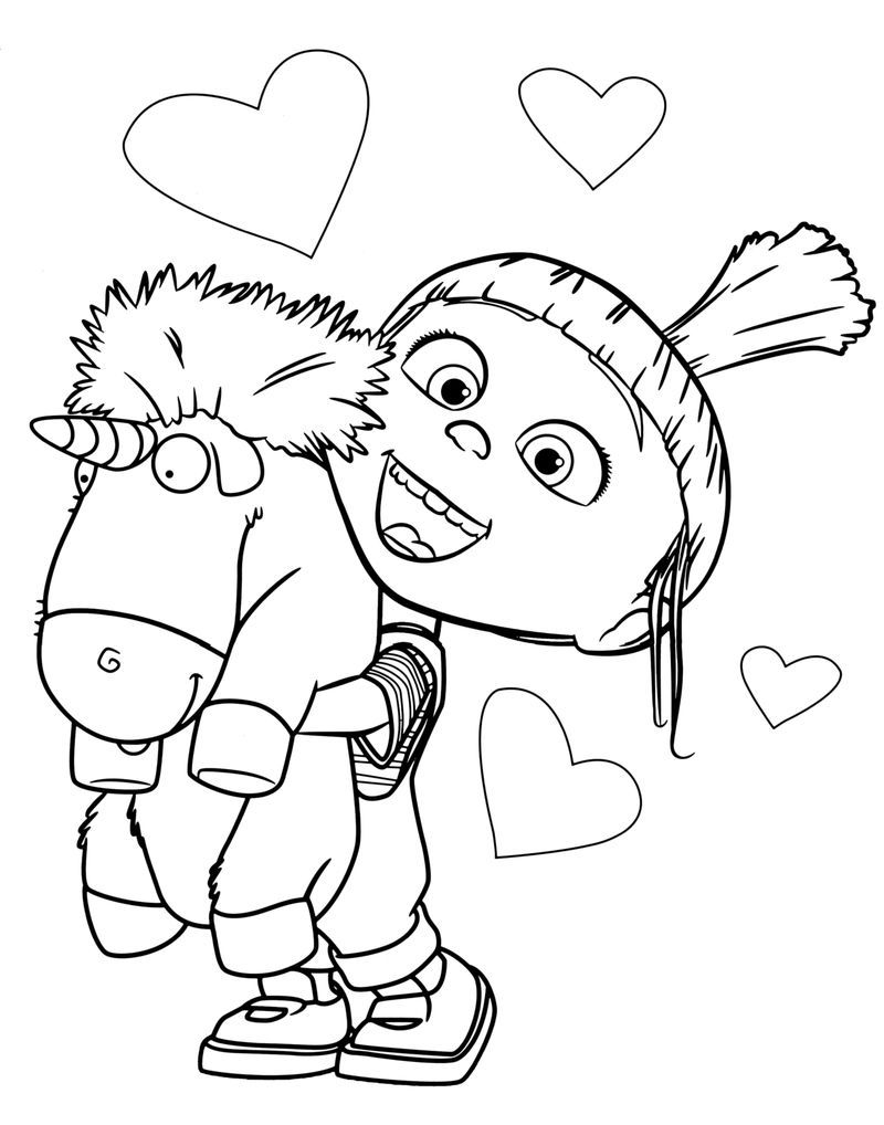 Agnes With Fluffy Unicorn Despicable Me Coloring Pages Com