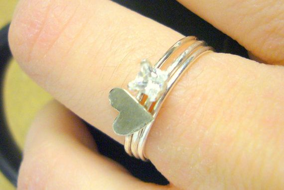 Sterling silver stacking rings set of 3 stackable by WatchMeWorld, $35.00