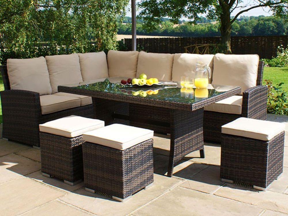 9 Seater Rattan Corner Sofa Amp Dining Set Garden Furniture