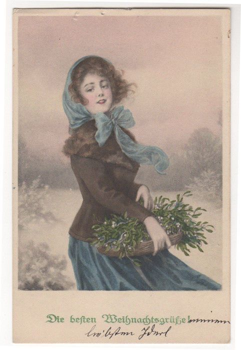 PRETTY LADY GATHERS MISTLETOE ON A COLD WINTER DAY Original Antique Postcard