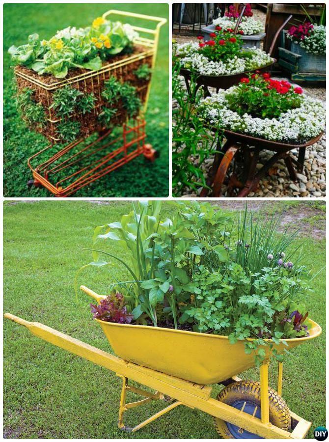 DIY Recycle Wheel Cart Planter Instructions 20 DIY