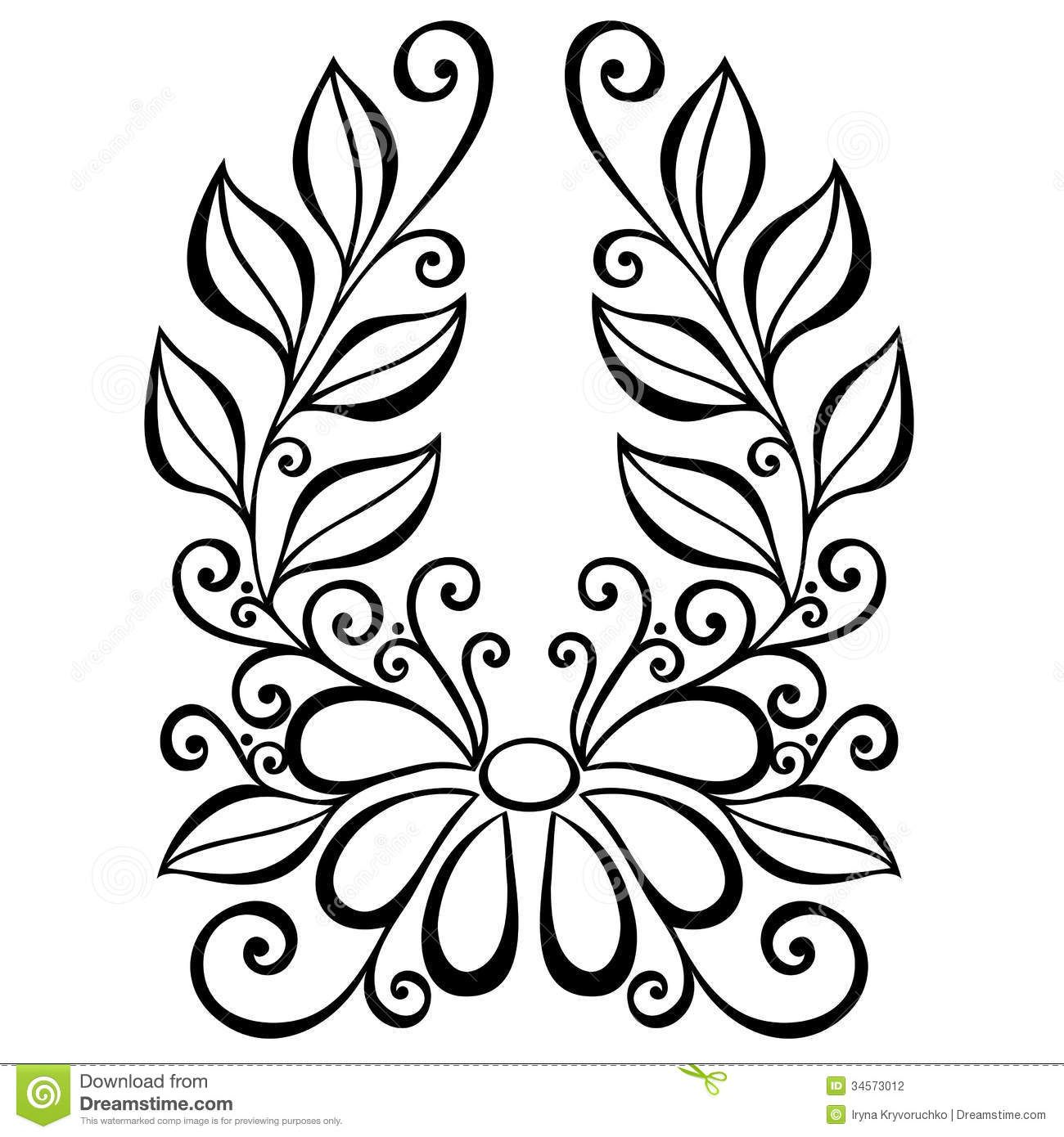 Decorative Flower Leaves Beautiful Vector Patterned Design 34573012