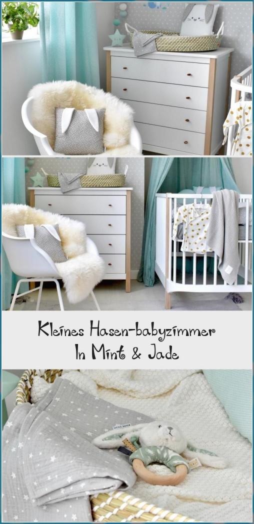 Kleines Hasen-babyzimmer In Mint & Jade – babyzimm – Wandgestaltung Kinderzimmer