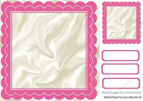 Scalloped cerise and satin 8x8 frame with topper & tags ...