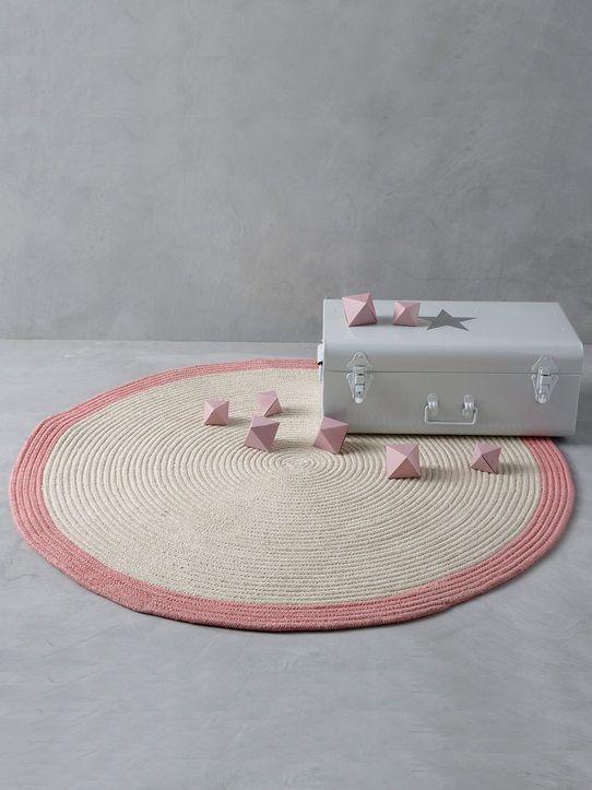 Runder teppich beige  Runder Teppich, Baumwolle, geflochten MARINE/BEIGE+ROSA/BEIGE ...