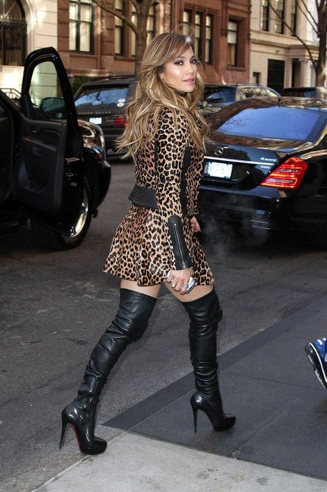 5a5d5beb8e017 Celebrities in Boots: Jennifer Lopez In Christian Louboutin Thigh High Boots.  New York City
