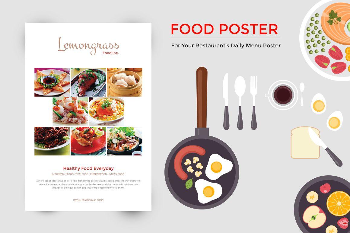 Food menu display poster by giantdesign shop on creativemarket