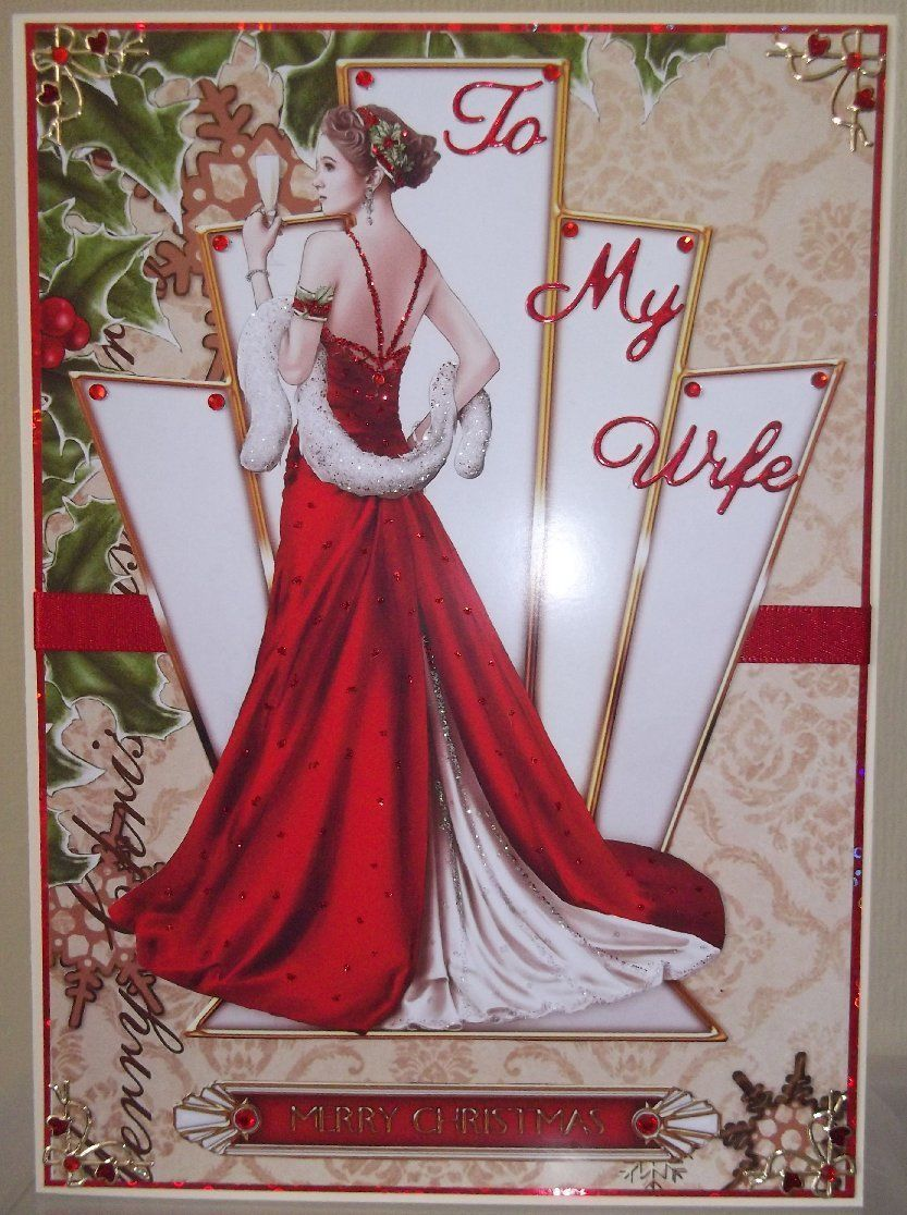 Handmade art deco christmas card with to my wife with a lady in red ...