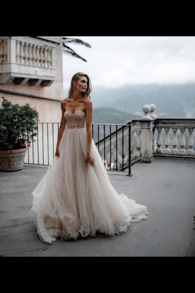 Pleated Tulle Bridal Dresses SweetHeart Neckline Minimalist Wedding Dresses