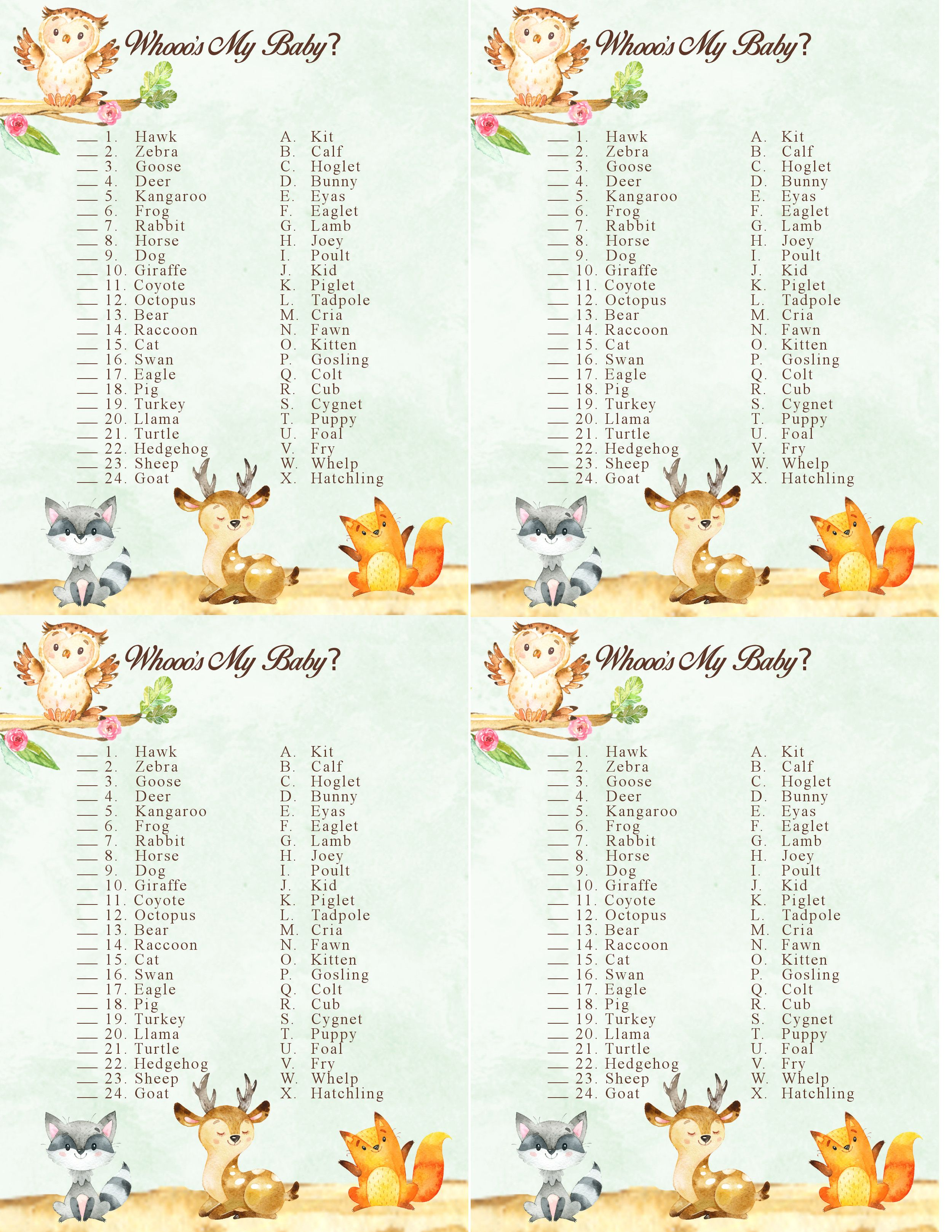 Woodland Forest Animal Baby Shower Game Who S My Baby