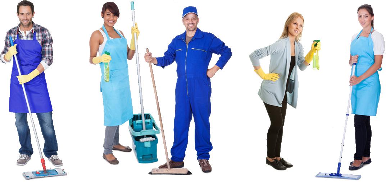 Equipe completa de limpeza