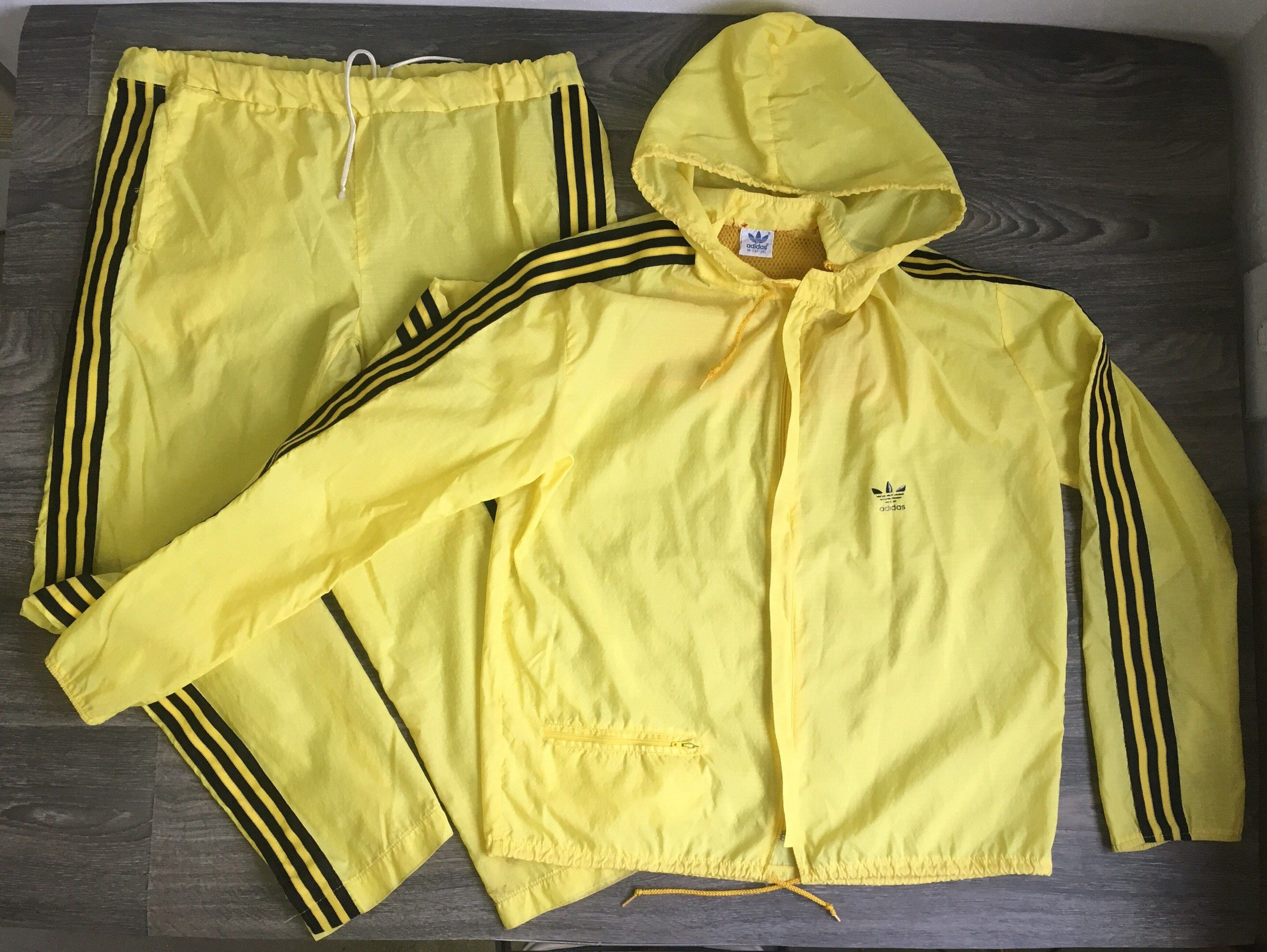 2c69bd7fc21a Adidas 80s Vintage Track Suit Trefoil 3 Stripe Running Yellow Athletic  Dance Nylon Sport Warm Up Size Medium Kill Bill Workout Clothes by  sweetVTGtshirt on ...