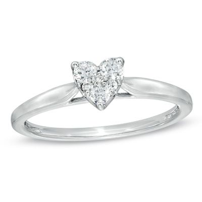 1 5 CT T W Diamond Heart Cluster Promise Ring in 10K White Gold