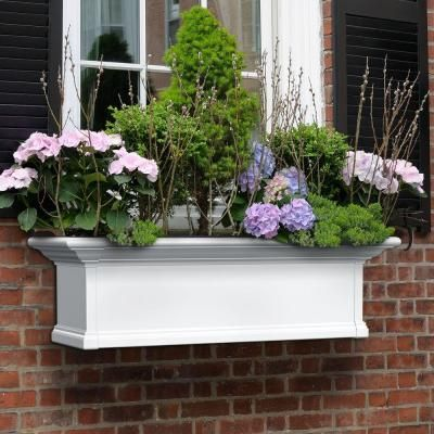 Mayne 36 In X 12 In White Plastic Self Watering Window Box 4823w The Home Depot In 2020 Window Planter Boxes Window Planters Yorkshire Window Box
