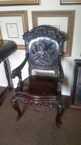 antique chinese dragon chair holiday covers dining rooms antiques gifts 1850 s hand carved rosewood rare sale collectors