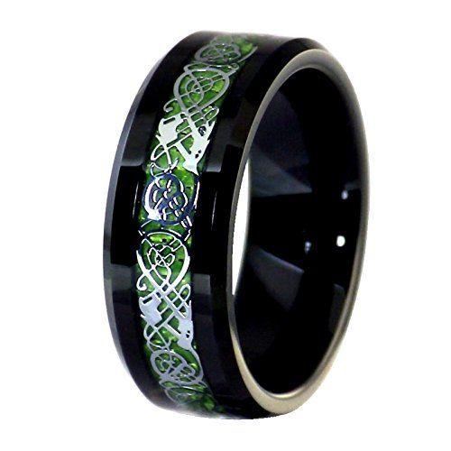 Black Tungsten Silver Tone Viking Dragon Celtic Knot Ring... https ...