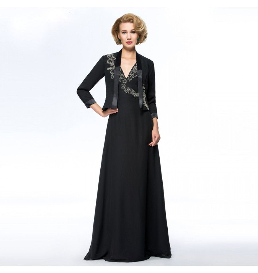 Braut Mutter Abendkleid in Schwarz mit Jacke  Damenmode, Damen