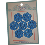 7 Vintage midcentury plastic Floral button on Original Muscatine Iowa BWG card