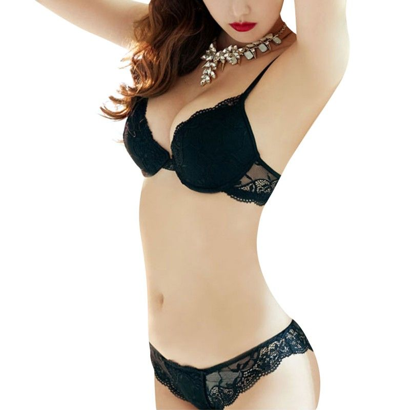 2017 Women Lady Cute Sexy Underwear Satin Lace Embroidery Solid Bra Sets  With Panties New   c2617424d