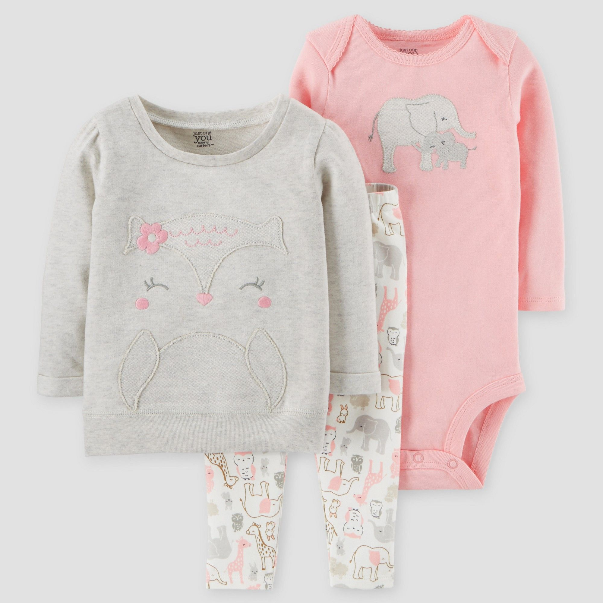 1df043fa7 Baby Girls' 3pc Animals Cotton Pullover Set - Just One You Made by Carter's  Gray/Pink 12M, Size: 12 M