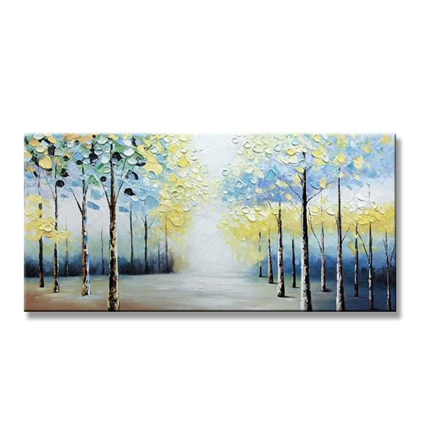 100 Hand Painted Abstract Oil Painting On Canvas Forest Scenery Wall Hanging Picture For Living Room Bedroom Home Decor Unframe Oil Painting Abstract Painting Oil Painting On Canvas