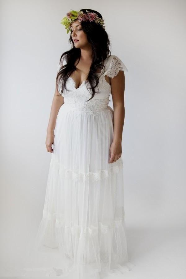 Bohemian Wedding Dresses Plus Size A Line Bridal Gowns Vintage ...