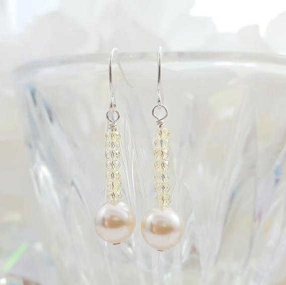 Swarovski Cream Pearl Earrings Jonquil Yellow Crystal