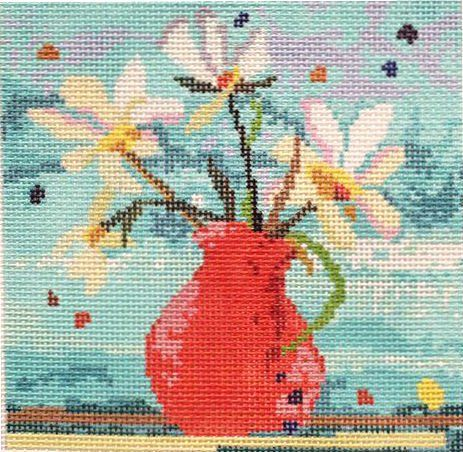 Red Vase With Daisies Needlepoint