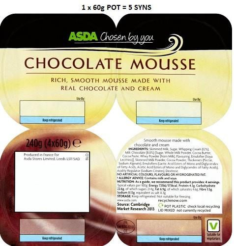 Asda Chocolate Mousse Slimming World Syns Slimming