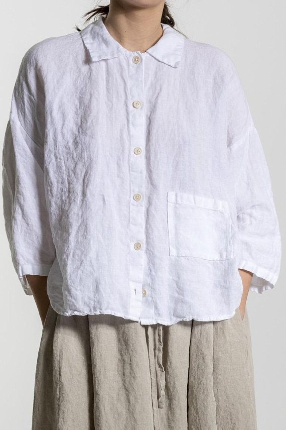 White Linen Shirt Linen Shirt Women 3 4 Sleeves Shirt Plus Size