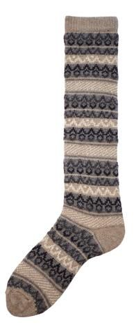 women's fair isle knee high mushroom wool cashmere socks