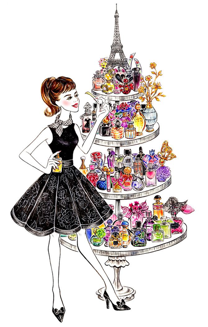 Perfume lover in paris fashion lifestyle illustration by - Dessin parisienne ...