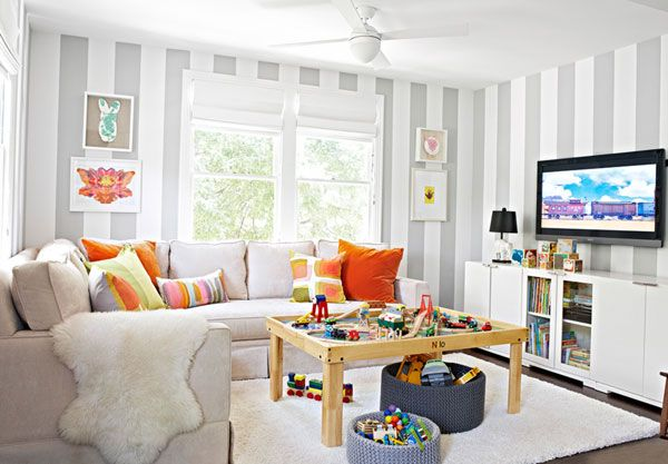 Love This Kids Playroom W Gray And White Striped Walls Living Room Playroom Family Friendly Living Room Kid Friendly Living Room