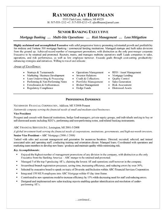 Banking Executive Manager Resume Template - http\/\/www - mortgage resume objective