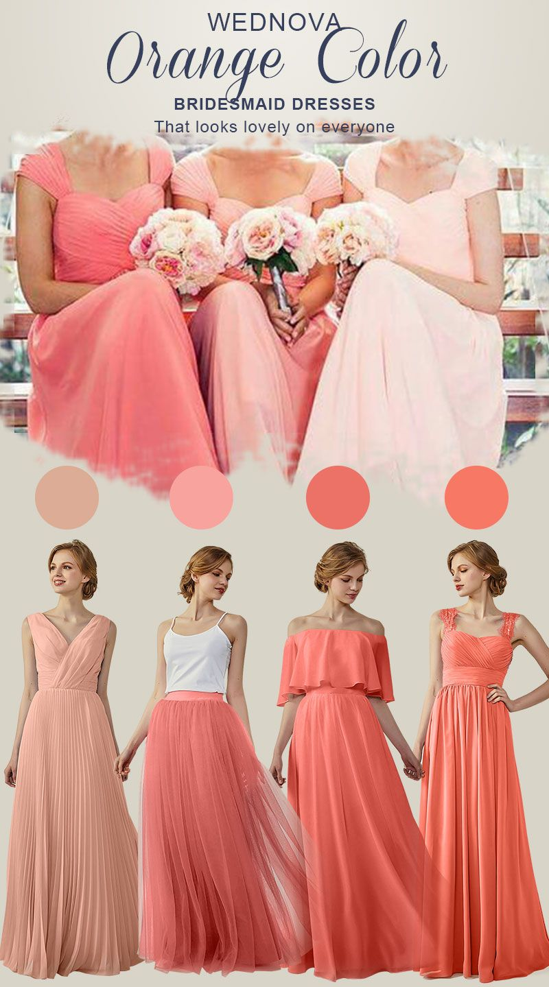amazing bridesmaid dresses orange v neck long dresses a line