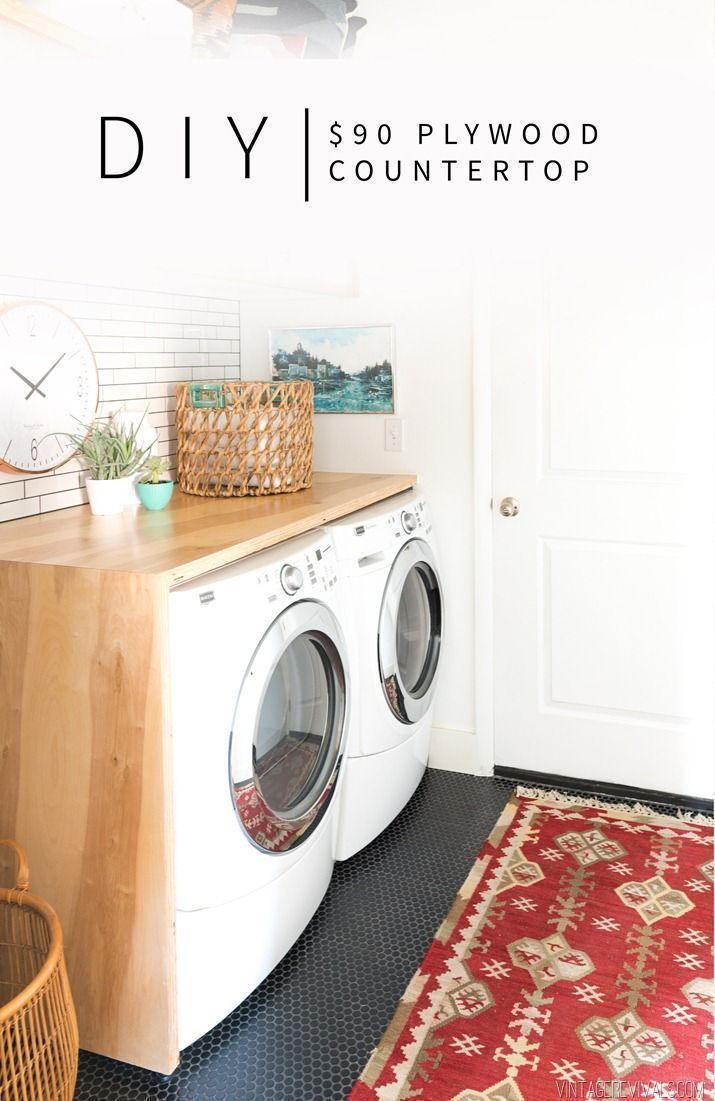 $90 DIY Plywood Waterfall Countertop for your Laundry Room | Vintage Revivals #laundryroom #diyreno