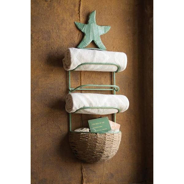 Starfish Towel Rack With Basket In Antique Blue At Seasideinspired